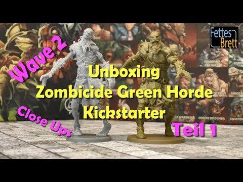 Unboxing - Zombicide Green Horde - Kickstarter - Wave 2 - Teil 1 - Close Ups Miniatures Cards